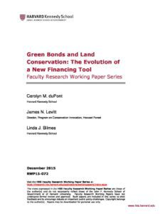 Green Bonds and Land Conservation: The Evolution of a New Financing Tool